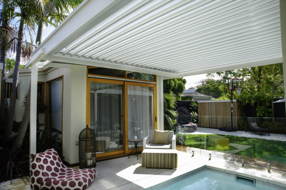louvered roof pergola over pool